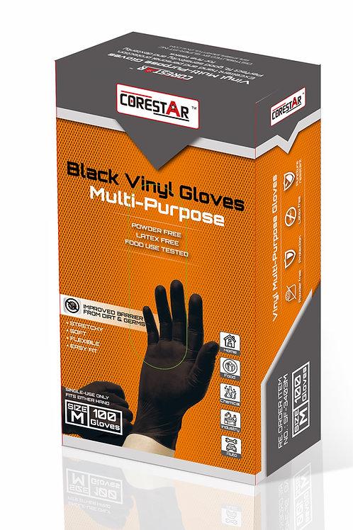 CoreStar Black Vinyl Disposable Gloves (1 Case - 10 Boxes)