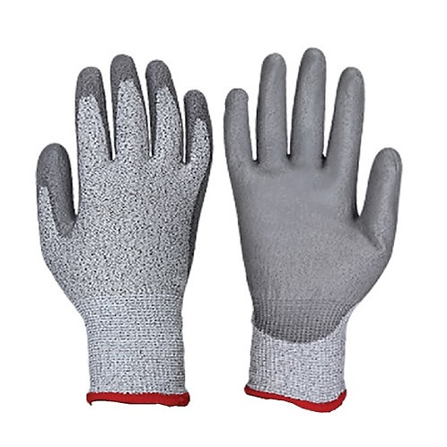 13G HPPE Anti-Cut Glove coated grey PU on Palm