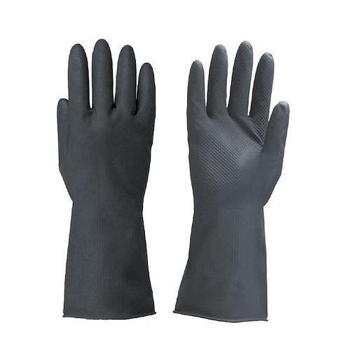 Black Latex Glove Dipped Flocklined
