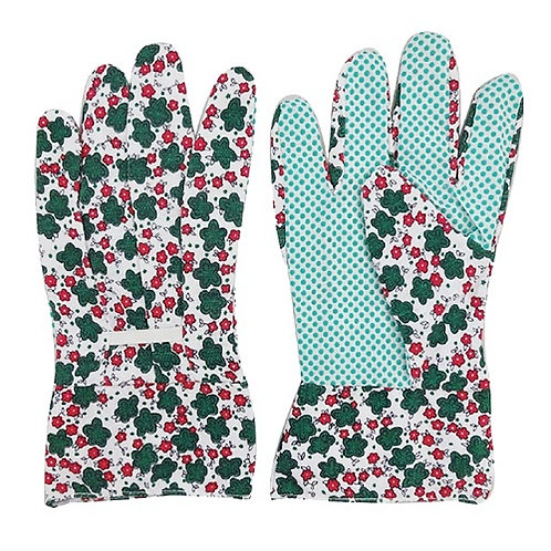 Cotton/Polyester floral printed Garden Glove, PVC Dots on Palm