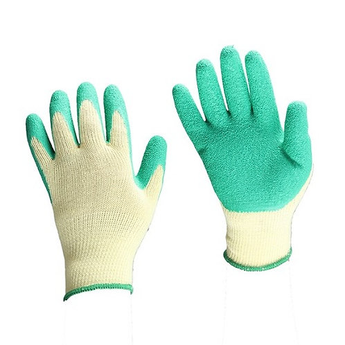 10G 5 yarns Cotton/Polyester Glove coated Crinkled Latex on Palm