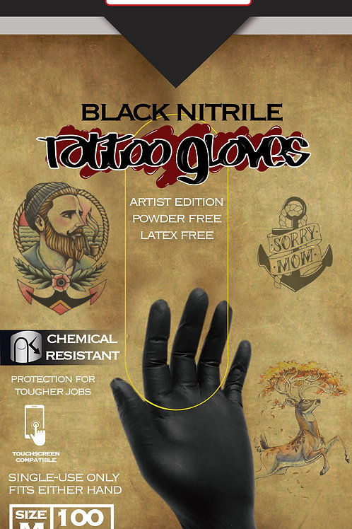 CoreStar Black Nitrile Tattoo Edition Exam Gloves (1 Case - 10 Boxes)