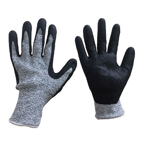 13G HPPE/Steel Fiber Anti-Cut Glove coated Micro-Foam Nitrile on Palm