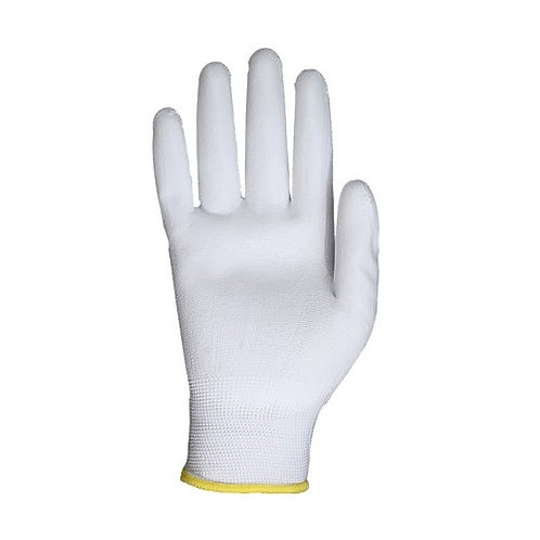 13G white Nylon/Polyester Glove coated white PU on Palm