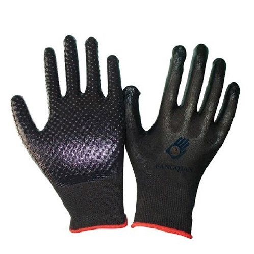 13G Nylon/Polyester Glove coated Nitrile and Dots on Palm