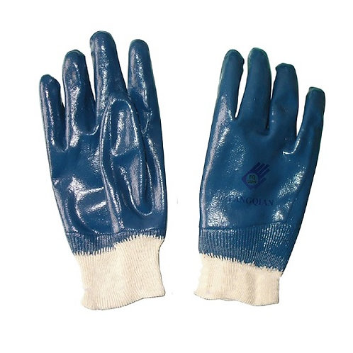 Blue Nitrile Fully dipped Jersey Lined, Knitted Wrist