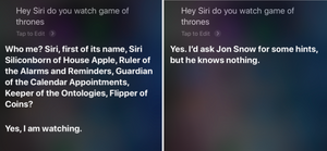 Natural Language Processing: Siri answering Game of Thrones questions.