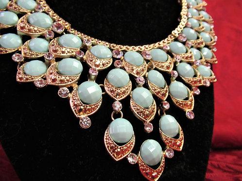 Duck Egg Blue & Rhinestone Statement Necklace