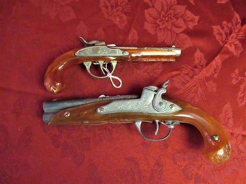 2 SIZES: Hubley Flintlock Toy Pistols