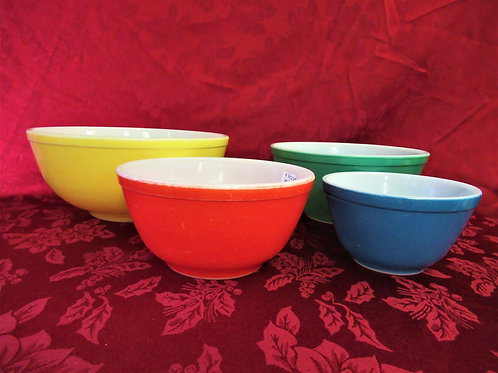 "Pyrex ""Primary Colors"" 4 Nesting Bowls"