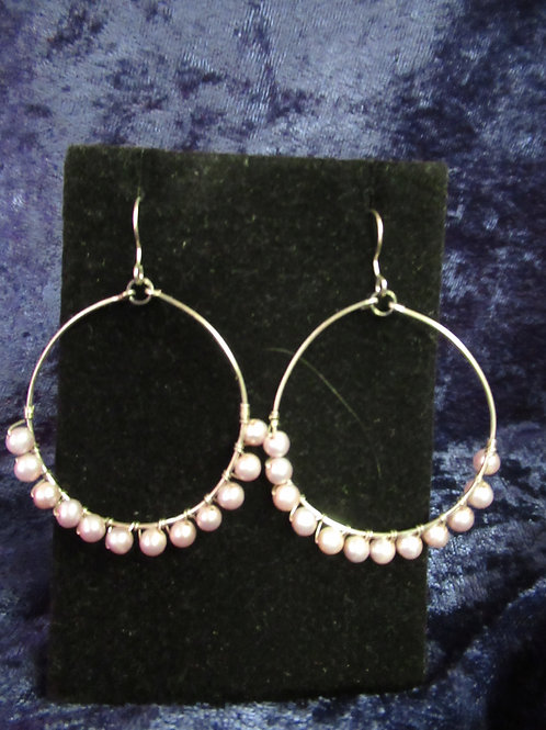 Pale Pink Pearl Beaded Hoop Earrings