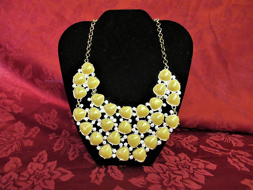 Butter Yellow and Rhinestone Statement Necklace