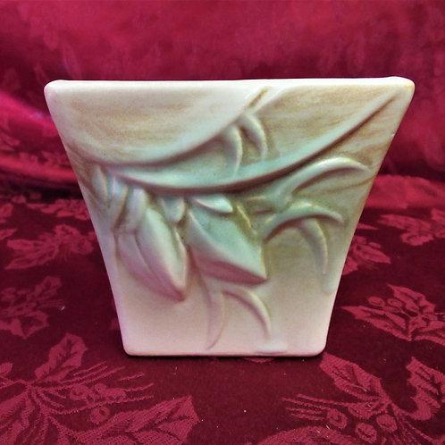 McCoy Square Green Leaf & Beige Vase