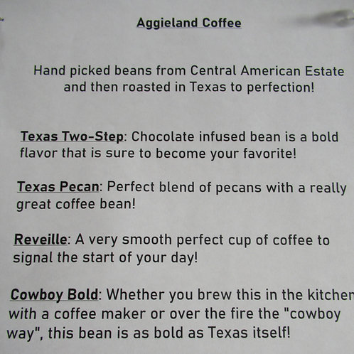 Aggieland Coffee Beans - 4 flavors to choose from!