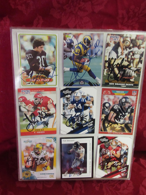 9 Autographed Football Cards