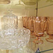 Pink glass Goblets & Crystal