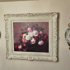 Framed Floral & Wall Plates w/Decorative Hangers