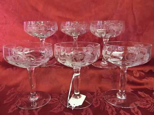 Princess by Tiffin-Franciscan Champagne/Sherbert Glasses (6)