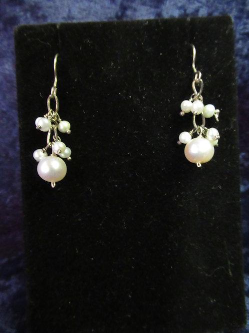 Delicate Pearl Beads Cluster Earrings