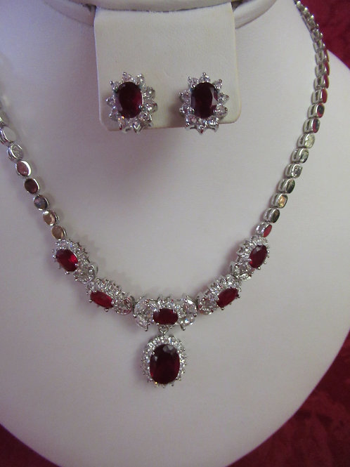 Ruby Red & Crystal Necklace and Earring Set
