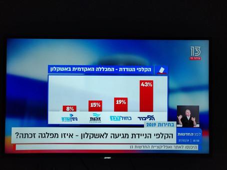 Channel 13: ZEHUT at 15% in Ashkelon Voting