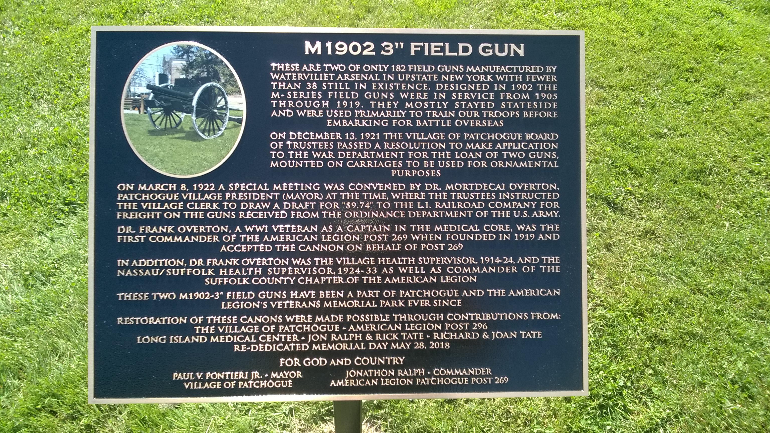 M1902 Field Gun Plaque