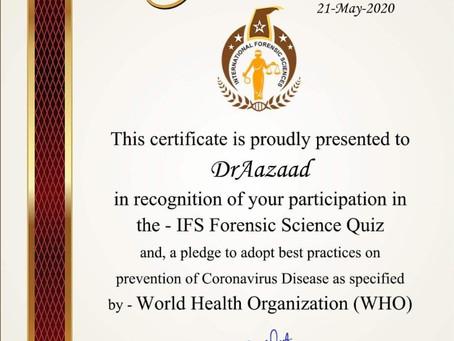 मेगास्टार डॉ आज़ाद को कोरोनावायरस बीमारी की रोकथाम में उनके योगदान के लिए सम्मानित किया गया।