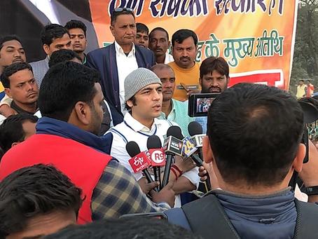 """International brand ambassador of Sanskrit """"Megastar Aazaad"""" gets public honor in Varanasi"""