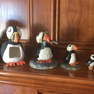 A row of puffins