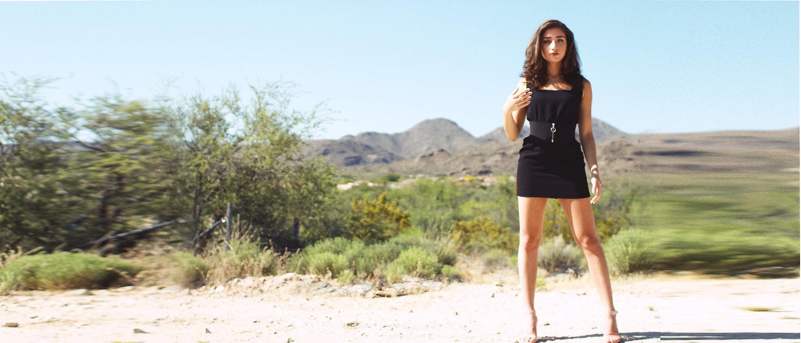 Halle Abadi in the desert.