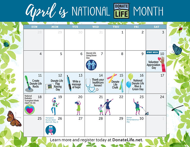 2021 National Donate Life Month Calendar