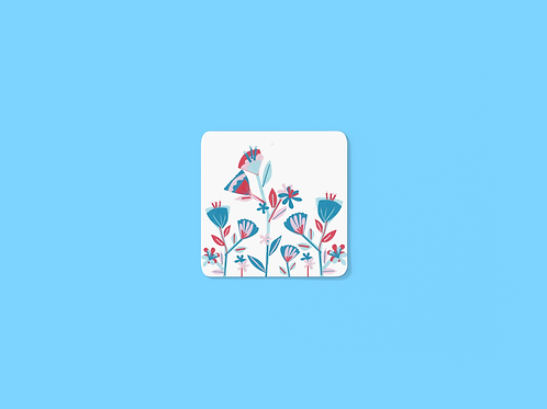 Folky Floral Border Coaster