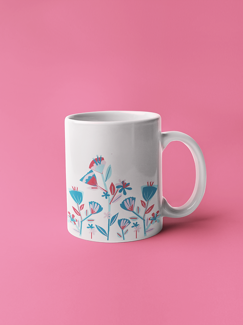 Folky Floral Border Mug