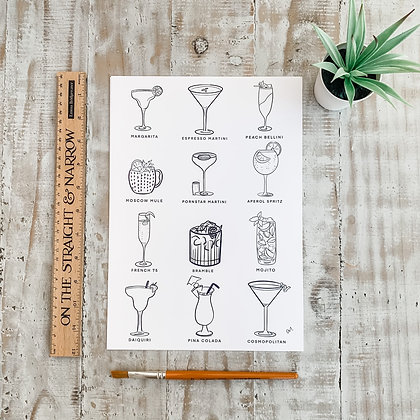 A4 Cocktail Print - Black and White