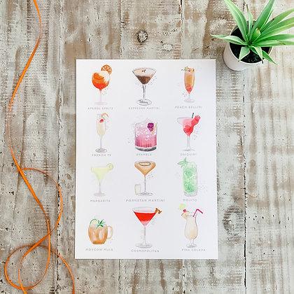 A4 Cocktail Print - Colour