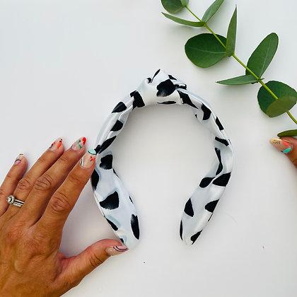 Satin Headband - Black Brushstroke