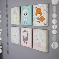 Illustrations de doudous sur toile