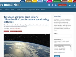 """PV Magazine: Terabase acquires First Solar's """"PlantPredict"""" performance monitoring software"""