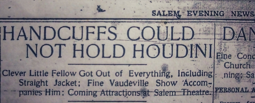 """Handcuffs Could Not Hold Houdini"" Salem Evening News - Tuesday April 17, 1906"