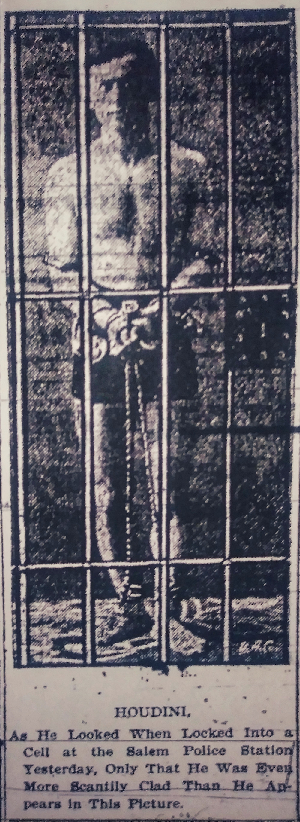 Stock Image of Houdini from the April 17th Salem Evening News