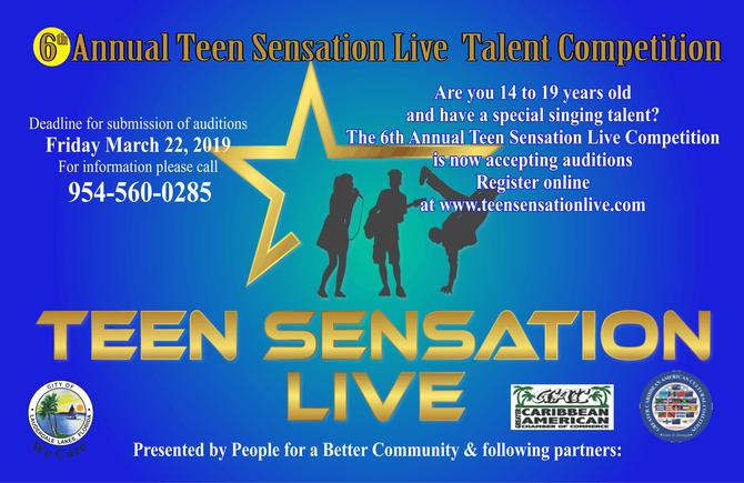 Teen Sensation Live Online Registration & Auditions for Singers Now Open thru March 22, 2019
