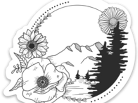 Mountain and Flowers Sticker