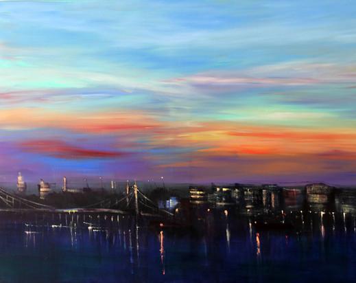 Albert Bridge Dawn Lights