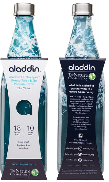 Aladdn Earthscapes The Nature Consevancy Fresco Bottle Packaging