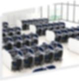 call center - mesas reguláveis com abafadores