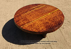 Redwood round table amber gold inlay Jon