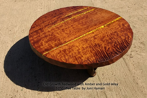 Live Edge Redwood Coffee Table, Amber and Gold Inlay by Joni Hamari