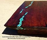 Curly Redwood Table Turquoise inlay Joni