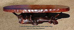 Redwood curly coffee table stone inlay 6