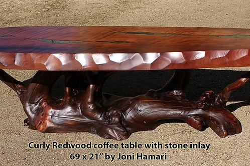 Curly Redwood coffee table with Stone Inlay by Joni Hamari